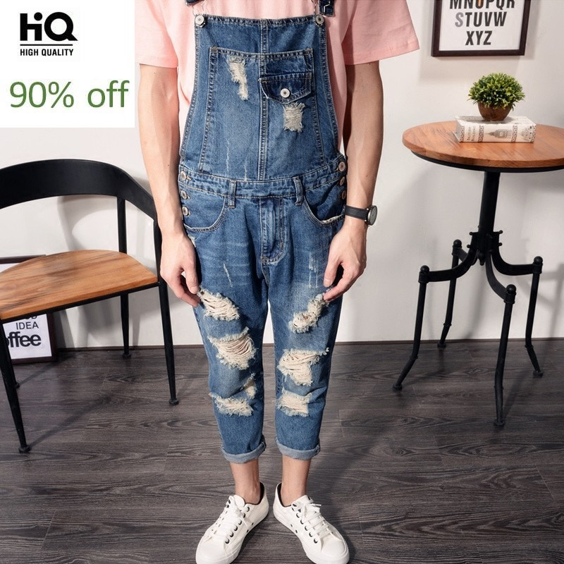 Overalls Men 2020 Summer Fashion Hole Ripped Straight Loose Fit Casual Jumpsuit Washed Zipper Ankle-Length Pants Man Plus Size