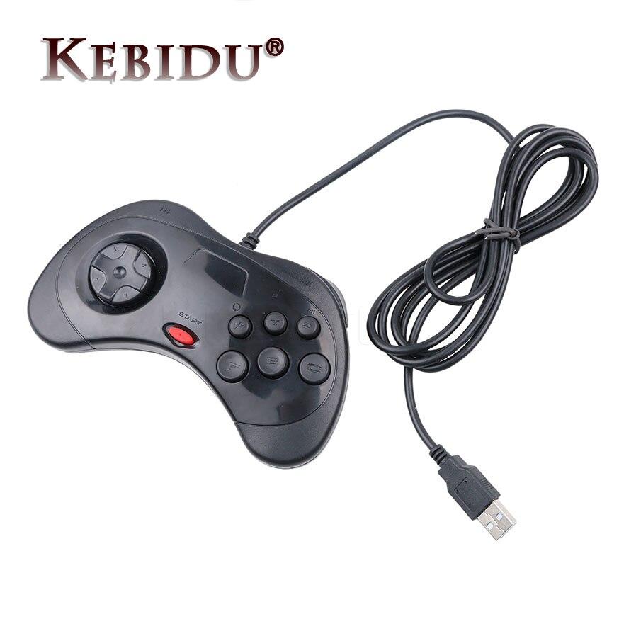 Kebidu 1 pçs usb com fio gamepad 6 botões controlador de jogo joypad joystick para sega para saturno estilo do sistema para pc para mac