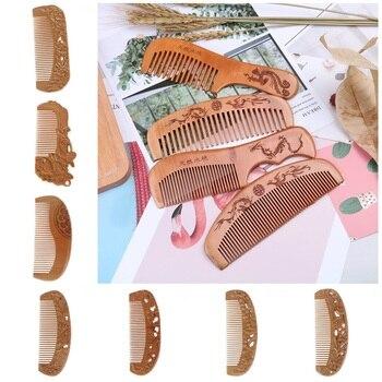 1 PC Natural Peach Wood Comb Close Teeth Anti-static Beard Comb Head Massage Hairbrush Hair Care Tools For Travel