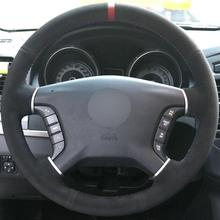 Black Suede Hand-stitched Car Steering Wheel Cover for Mitsubishi Pajero Galant