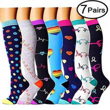 7 Pairs/Lot Mix Compression Stocking Fit Running Unisex Nurses Flight Travel Leg Pressure Compress High Quality Christmas Socks(China)