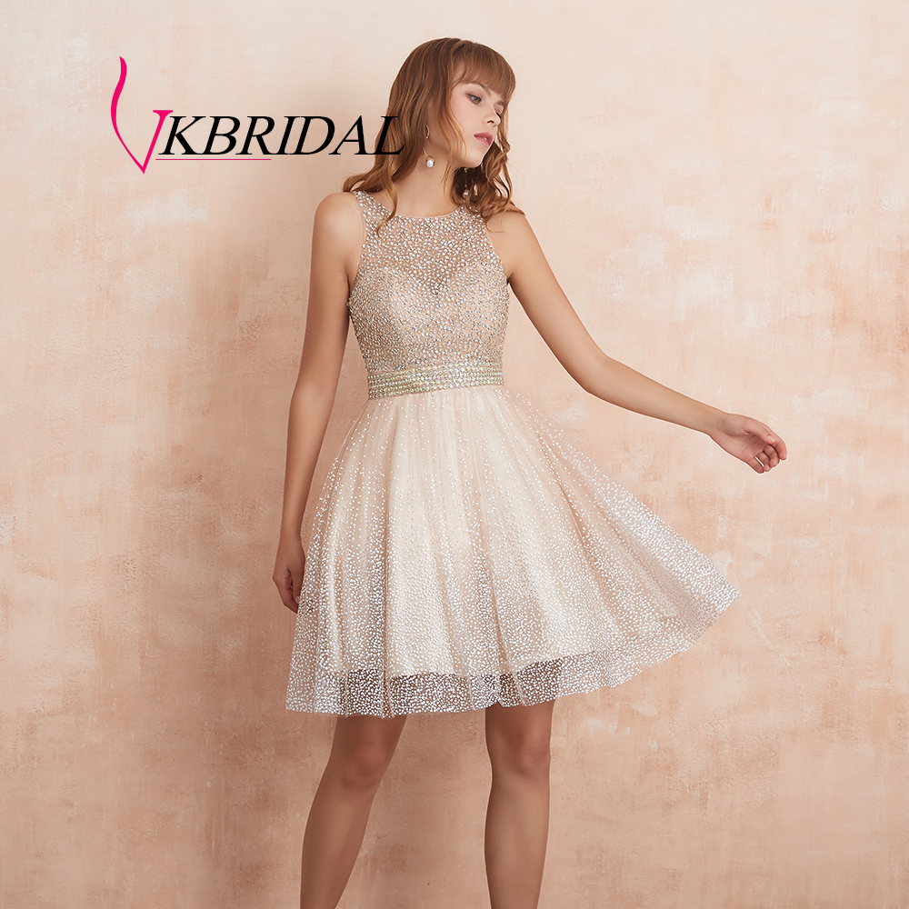 VKBRIDAL Sparkle Beaded Crystal Short Prom   Dresses   2019 Light Champagne Homecoming   Dress   Sexy Shiny   Cocktail   Gowns Abiye Vestido