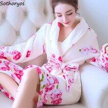 Roben Frauen Plus Größe Drucken Flanell Koreanische Kawaii Langarm Dicker Warme Nachtwäsche Weiche Bademantel Damen Einfache Hohe Qualität