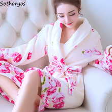 Robes Women Plus Size Print Flannel Korean Kawaii Long Sleeve Thicker Warm Nightwear Soft Bathrobe Womens Simple High Quality
