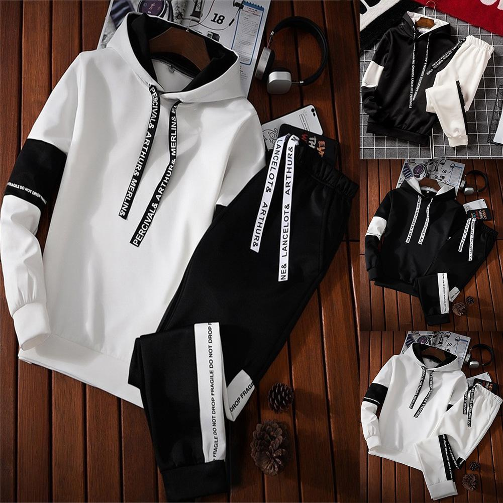 ZACOO Men's Comfortable Long-Sleeved Sportswear Suit Pullover Top+ Casual Pants For Gym Campus