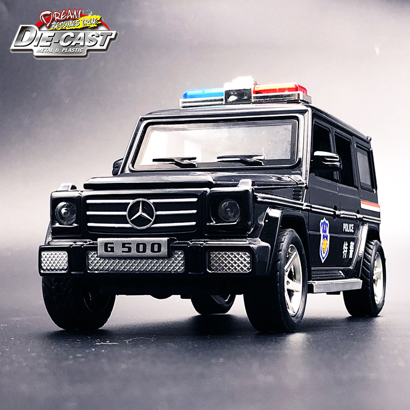 Diecast Benz G500 Police Car, Metal Toys For Kids, Boys Gift With Functions