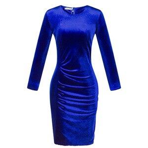 Image 5 - סקסי Velour קוקטייל שמלות מלא שרוול Ruched צד מעל הברך אלגנטית קצר בת ים מסיבת שמלות Robe קוקטייל Femme 2020