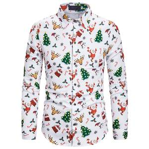 Shirt Cotton Blouse Long-Sleeve Silm Printed Christmas-Style Casual Fashion Mens Fit