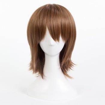 Persona 5 P5 Goro Akechi brązowy krótki Cosplay do odgrywania ról żaroodporne włosy syntetyczne karnawał impreza z okazji Halloween + darmowa peruka Cap