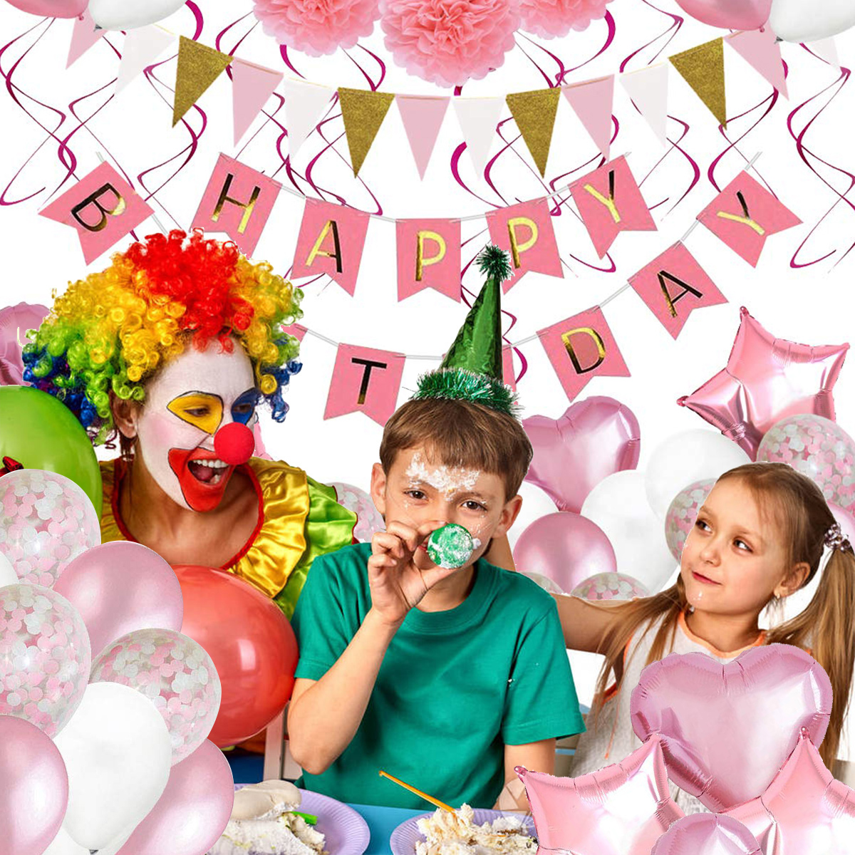 2019 Birthday Party Supplies Decor Kit Foil & Latex Balloons Happy Birthday Banner Swirls Paper Flowers Party Decor For Indoor