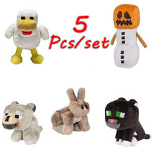 5Pcs/Set New Minecraftes Plush Stuffed Toys 18-20cm My World Zombie Wolf Ocelot Rabbit Chicken Doll Plush Toy Gift for Kids(China)
