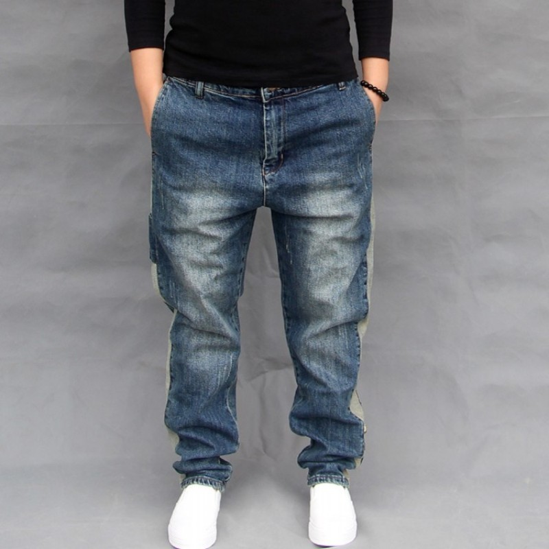 New Fashion Mens Loose Fit Harem Pants Plus Size Long Trousers Washed Casual Drop Crotch Jeans High Street Hip Hop Denim Pant