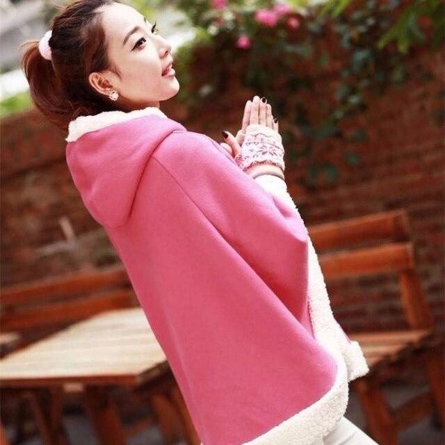 Woherb Japanese Kawaii Cloak Women Autumn Winter Hooded Poncho Cape Coat 2020 Girls Padded Cute Pullover Capes Femme Shawl 23422 6