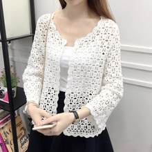 Camisas Mujer 2019 Spring Summer Fashion Crochet White Lace Blouse Women Tops Sexy Hollow Out Knitted Cardigan WF877(China)