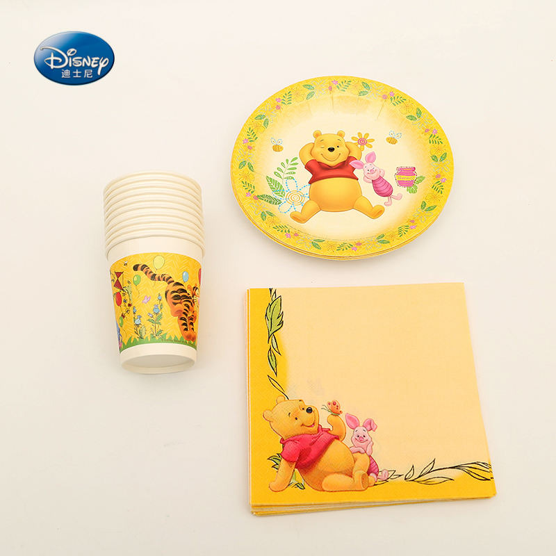 34 teile/los Winnie Theme Party Supplies Set Platten Servietten Tassen Kit für Kinder Geburtstag Party Shower Dekorationen