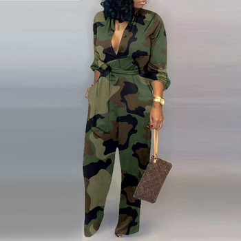 Women Autumn sexy Deep V Neck Long Sleeves Overalls Letter Leopard Print  Jumpsuit Elegant Camouflage Print one piece Rompers 5