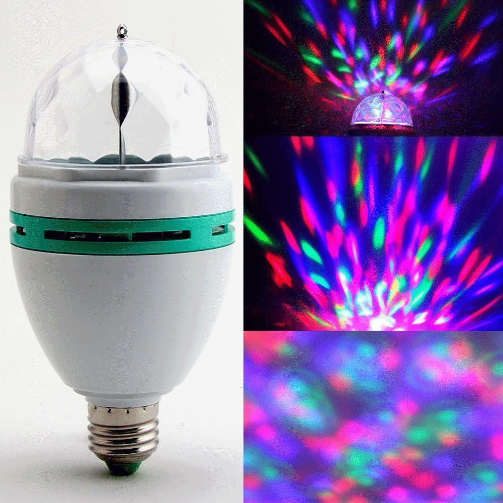 E27 3W Colorful Auto Rotating RGB LED Bulb Stage Light Party Lamp Home Disco Party Decoration Mini Lighting Lamps