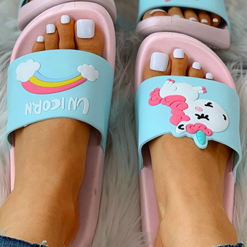 Cartoon Unicorn Rainbow Pattern Open Toe Flat Sandals Women Home Slippers Summer Ladies Slides Indoor House Shoes Sandalias Girl new 2018 unisex linen flax plaid house flat slipper indoor home cozy open toe scuffs