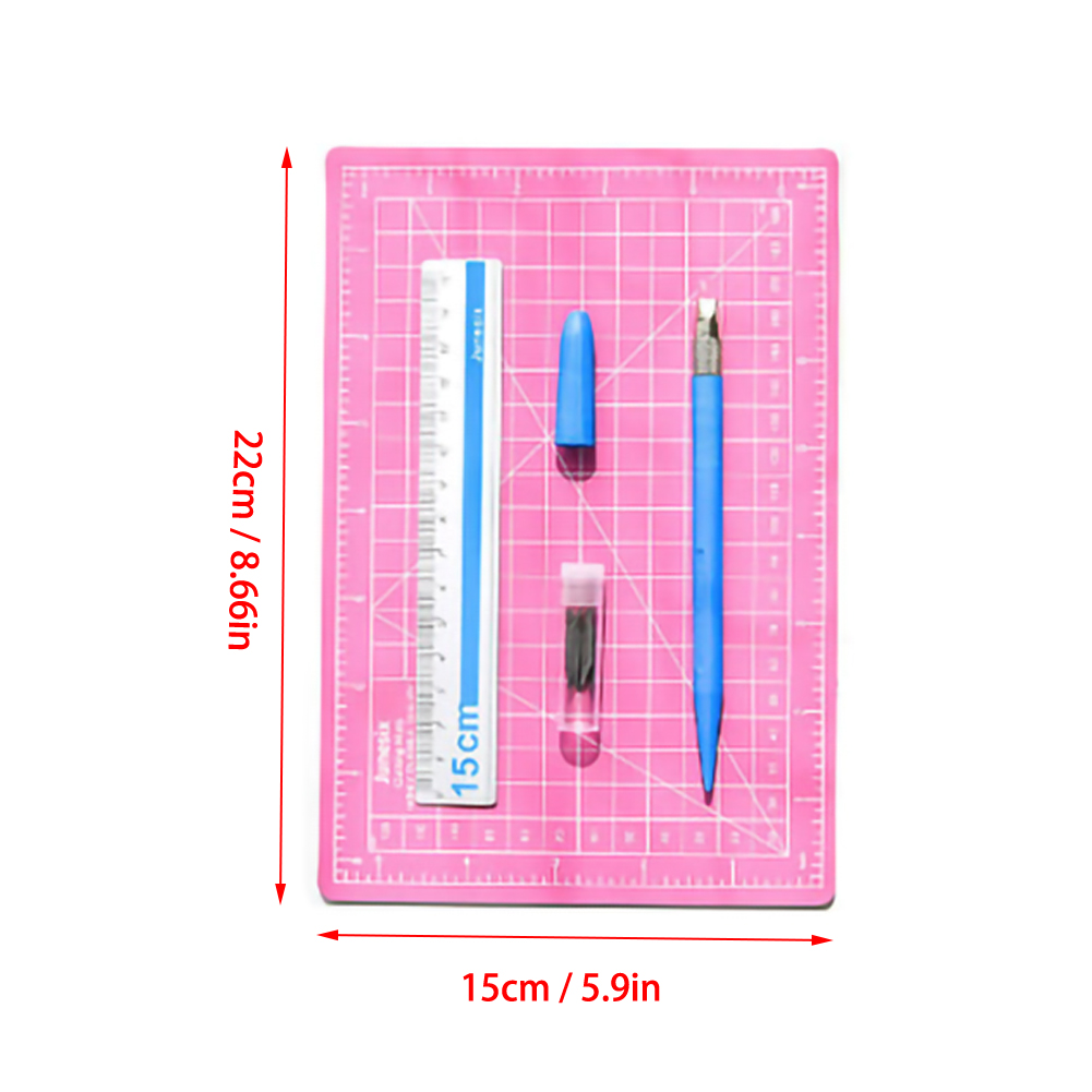 Hand Count Art Pen A5 Cutting Pad Set Engraving Pen  Aluminum Ruler Self Healing Rotary Cutting Mat Three Piece Set