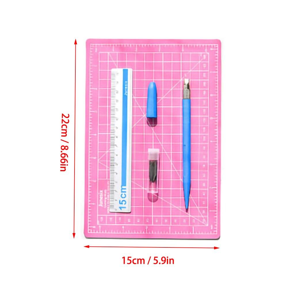 Hand Count Art Pen A5 Cutting Pad Set Engraving Pen  Aluminum Ruler Self Healing Rotary Cutting Mat Three Piece Set