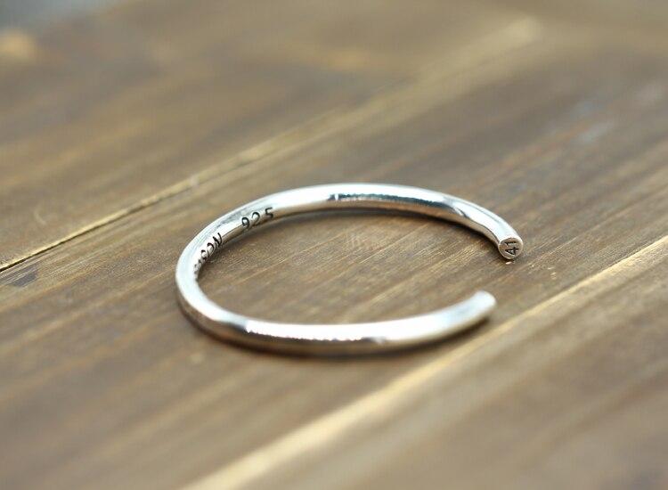 Pulsera abierta de plata de ley S925 con personalidad retro a la moda con amantes del estilo de vida joyería de atmósfera simple 2018 nuevos brazaletes - 5