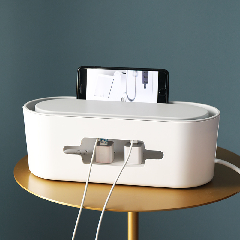 Plastic Wire Storage Box Power Strip Cable Management Box Convenient Removable Cover Cable Tidy Box Switch Easy To Heat Emission