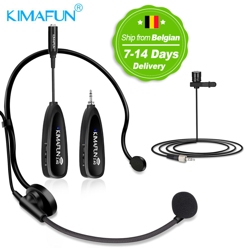 Kimafun Mini Portable Headset 2 4g Earphone Bluetooth Wireless Microphone Power Amplifier For Tourist Guide Meeting Teaching Microphones Aliexpress