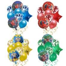 9 pçs spiderman homem de ferro capitão américa super herói balões os vingadores festa de aniversário decorações crianças brinquedo látex globos