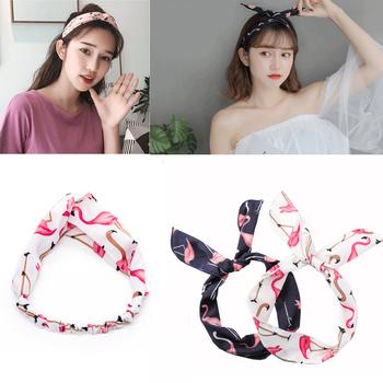 Kobiety dziewczęta czeski opaski do włosów drukuj opaski krzyżowy węzeł Turban bandaż opaski opaski akcesoria do włosów Scrunchie nakrycia głowy tanie i dobre opinie CN (pochodzenie) Poliester WOMEN Dla dorosłych Moda Zwierząt Flamingo Cartoon summer accessories Headbands for Women Headbands for Girls