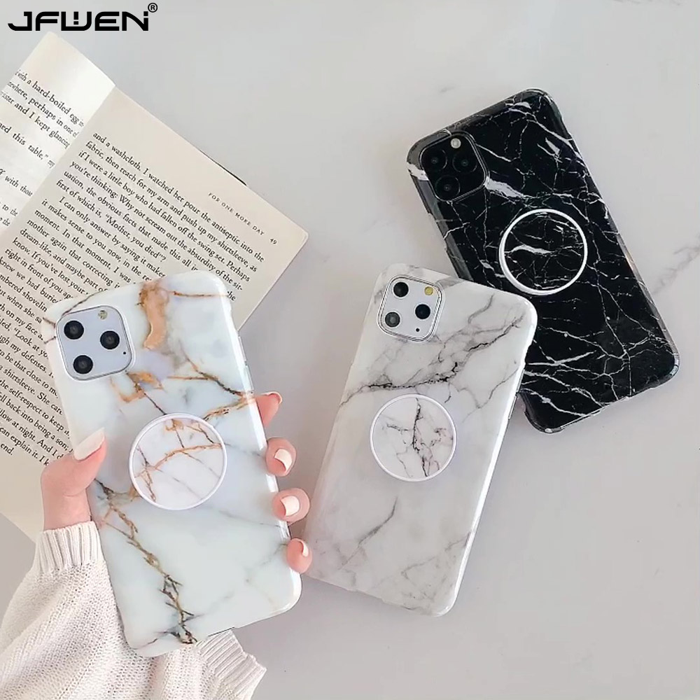 Marble Stand Phone Holder Case For iphone 11 Pro X XR XS Max 7 8 6 6S Plus SE 2020 Case Silicone Soft TPU Back Cover Shell(China)