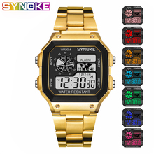 SYNOKE Gold Men Digital Watch Student Colorful Luminous Led Stainless Steel WristWatch Multi-function Fashion Silver Clock
