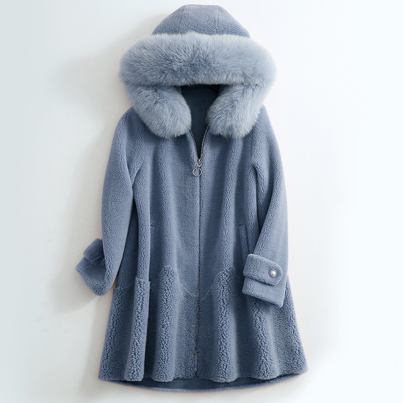 Sheep Real Shearling Fur Coat 2020 Winter Jacket Women Fox Fur Collar 100% Wool Coat Female Korean Long Jackets MY4043 S