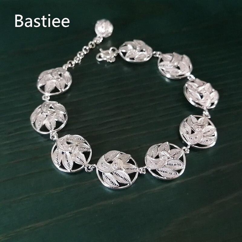 Bastiee Ethnic 999 Sterling Silver Peacock Bracelet For Women Miao Silver Luxury Jewelry Handmade Bracelets Vintage Hmong