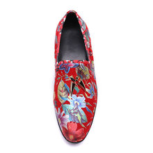 New Fashion Comfortable Genuine Leather round toe red print Flat Man handmade Shoes slio-on men driving shoes size38-46(China)