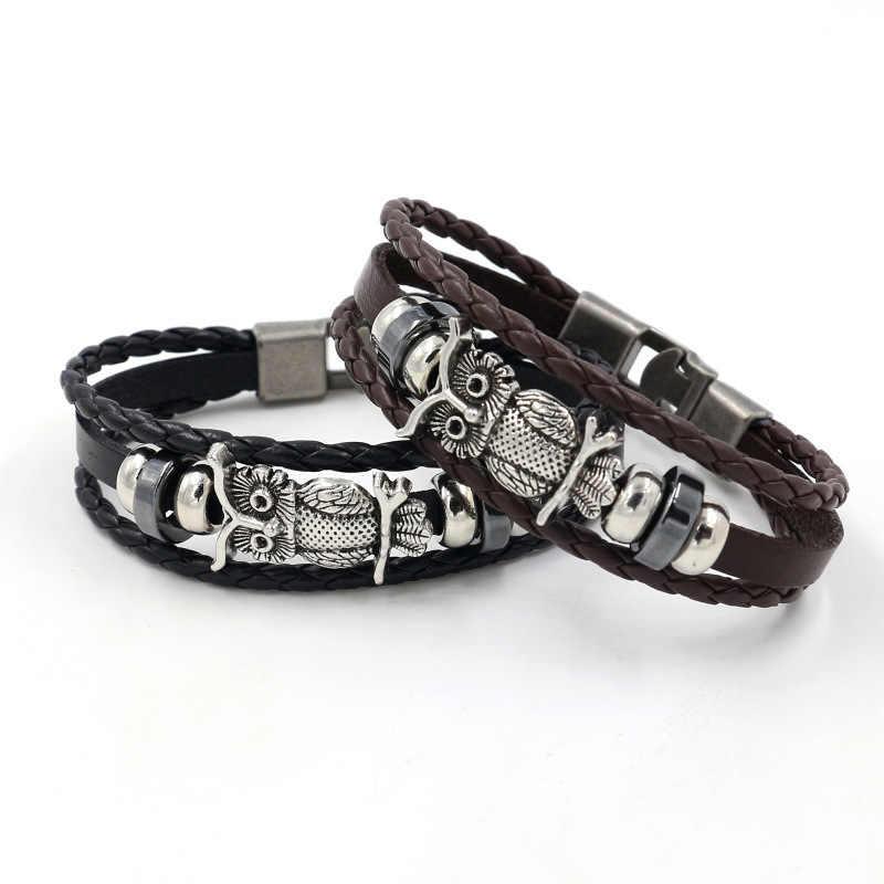 Nowa sowa skórzana bransoletka mężczyzn biżuteria strzałka ze stopu czaszka urok czarny brązowy kolor punk style