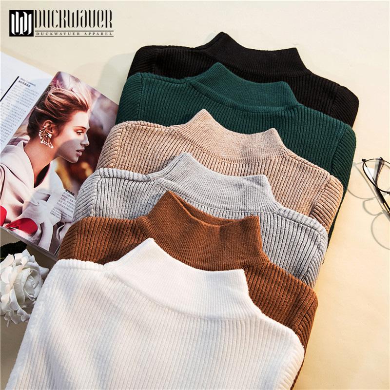 Duckwaver Autumn Winter Women Pullovers Sweater Knitted Elasticity Casual Jumper Fashion Slim Turtleneck Warm Female Sweaters