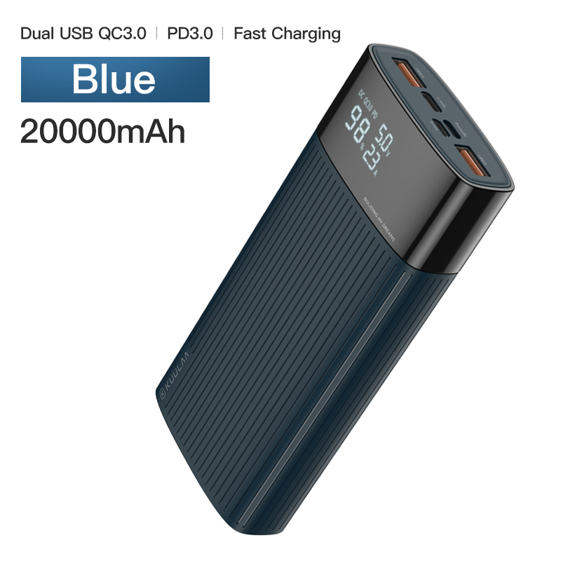 KUULAA power Bank 20000 mAh usb type C PD Быстрая зарядка+ Quick Charge 3,0 power Bank 20000 mAh Внешняя батарея для Xiaomi iPhone - Цвет: Blue