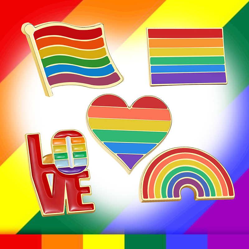 Vnox Brosche Set für Männer Frauen Regenbogen Bunte Herz Flagge Schmuck Metall Broschen LGBTQ Stolz Liebe Zubehör