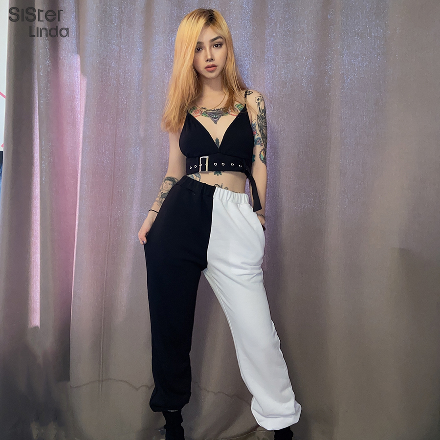 Sisterlinda Black White Casual Fitness Pants Women Solid Harem Pant High Waist Elastic Pants Sweatpants Women Trousers Mujer2020