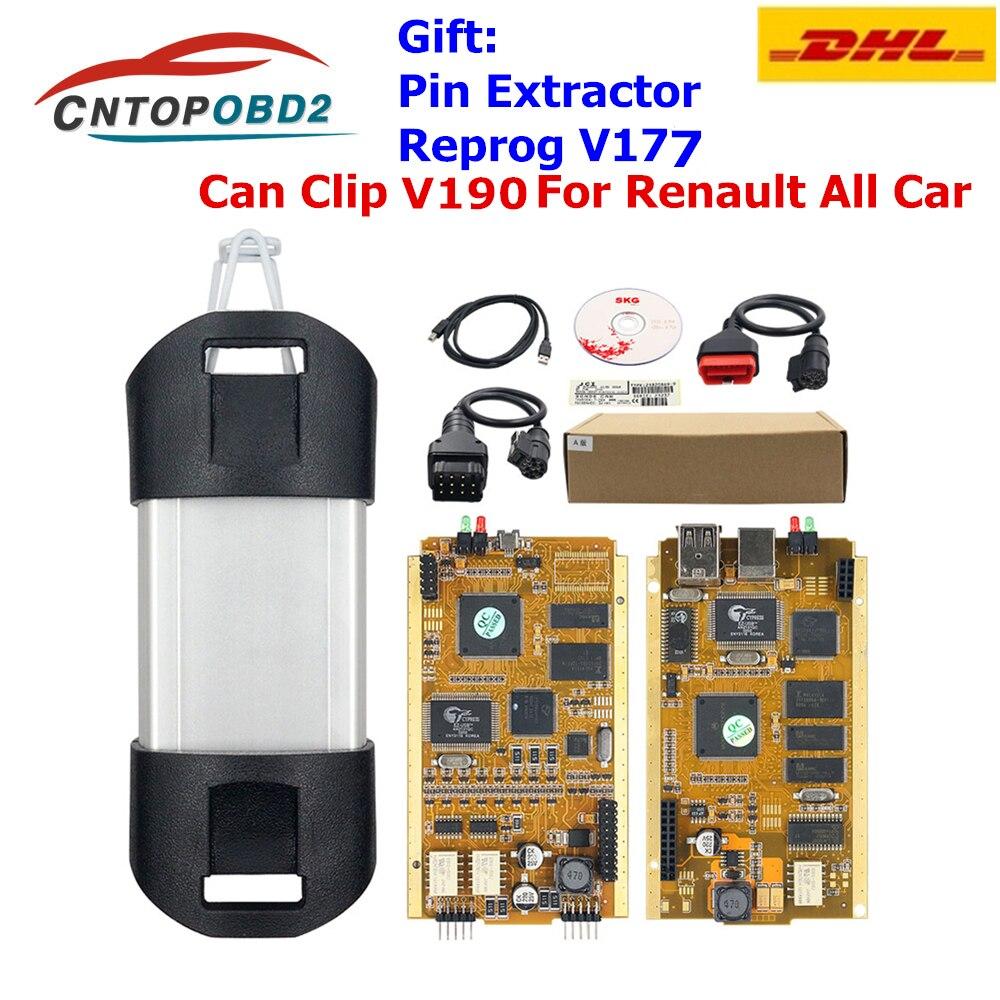 Для Renault Can Clip V190 Gold Full Chip CYPRESS AN2131QC автомобильный диагностический инструмент для 1998 2019 Pin экстрактор + Reprog V177 DHL бесплатно on AliExpress