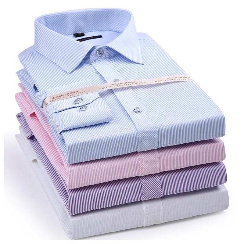 Stretch Slim Fit Stripe Men's Long Sleeve Dress Casual Shirt High Quality Male Social Classic Lapel Shirt