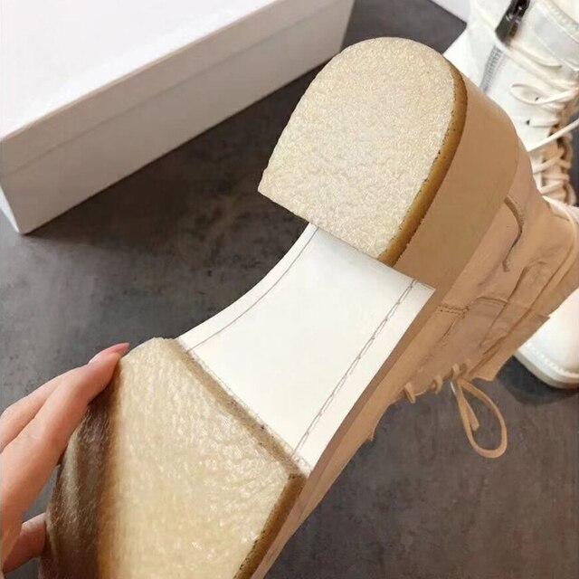 Nouveau Woundplast Patch armée bottes femmes en cuir véritable talons épais bottines 2019 Cool à lacets fond épais Martin bottes femme