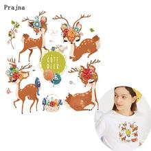 Prajna Cute Deer Heat Transfer Printed Iron On Thermal For Clothing DIY Cartoon Unicorn Stickers Garment Accessories F