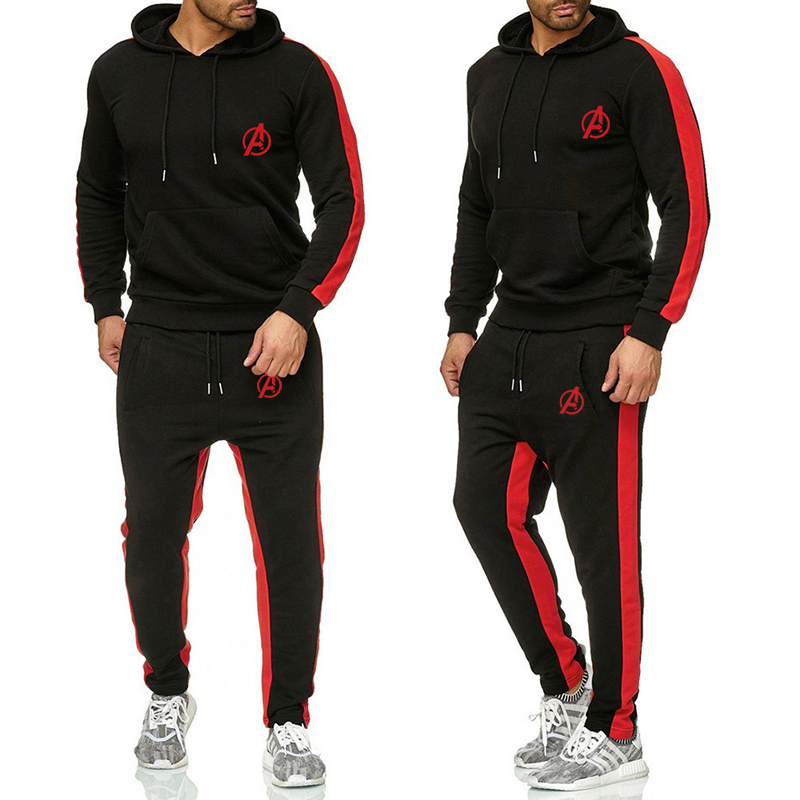 Mne 2 Pieces Sets Tracksuit Men Outfit Set  New Spring Autumn Hooded Sweatshirt Stripe Patchwork Hoodies Drawstring Pants Male