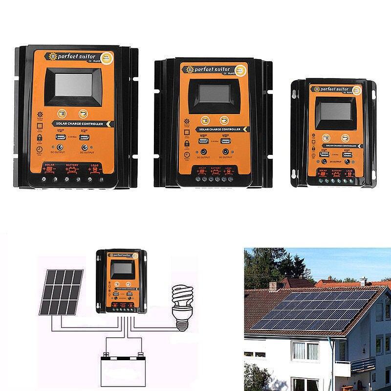 12 В/24 В 30A 50A 70A Контроллер заряда солнечной панели батареи Регулятор двойной USB ЖК-дисплей использовать для солнечной системы