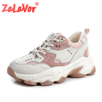 ZALAVOR Daily Ladies Sneakers Real Leather Round Toe Vulcanized Shoes Women Thick Sole Classics Sneakers Footwear Size 35-39