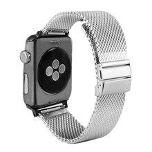 42MM 38MM Silver Watch Bracelet Stainless Steel Band for Apple Watch Series 1/2/3 Adjustable Mesh Replacement Strap Watchbands умные часы huawei watch steel mesh mesh серебряная сталь 42mm