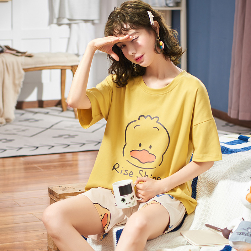 Women Summer Casual Tracksuit Young Girls Sleepwear Letter Print Big Size M-XXL Short Pants + Short Sleeve Tops 2pcs/set Pajamas