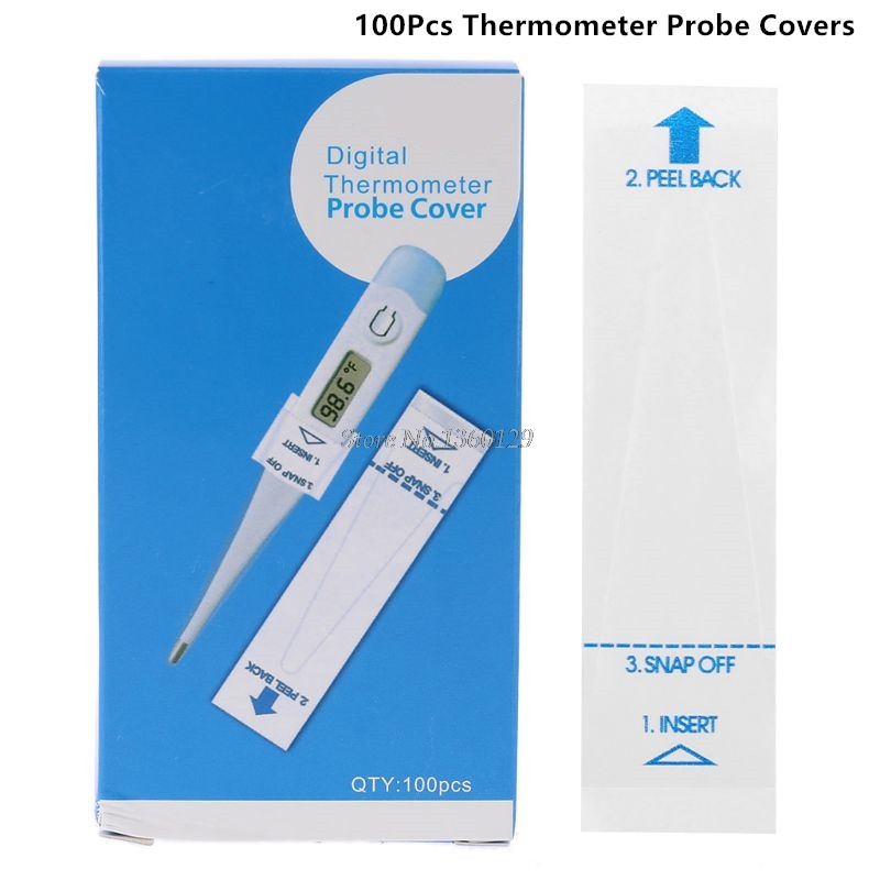 100PCS Digital Thermometer Probe Covers Universal Disposable Protector For Accurate Sanitary Oral, Rectal And Underarm Dropship