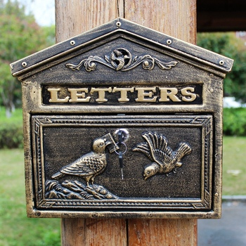 European villa with lock letterbox outdoor courtyard letterbox box wall postbox suggestion box creative postbox retro mailbox